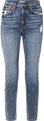 GRLFRND Karolina Distressed High-rise Skinny Jeans - Mid denim