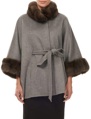 Gorski Cashmere Wrap Cape with Dyed Sable Trim