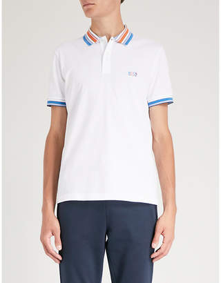 BOSS GREEN Contrast-collar cotton-piqué polo shirt