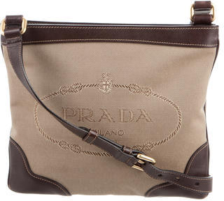 pradaPrada Leather-Trimmed Canapa Crossbody