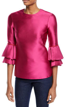 Brandon Maxwell 3/4-Sleeve Tiered-Cuff Satin Top