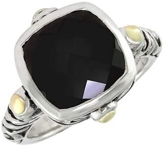Effy Sterling Silver Diamond Onyx Ring