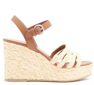 Prada Straw Wedge Heel Sandals