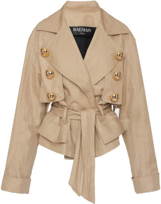 Balmain Belted Cotton-Linen Canvas Jacket