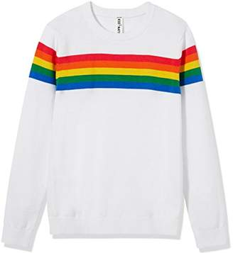 Kid Nation Kids' Sweater Long Sleeve Rainbow Stripe Pullover Round Neck Cotton Knit for Boys and Girls School Uniform Size M