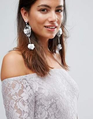 Johnny Loves Rosie Sequin & Rhinestone Flower Statement Drop Earrings