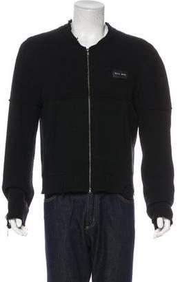 Baja East Distressed Zip Sweater