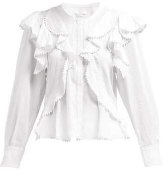 Etoile Isabel Marant Alea Ruffled Cotton Blouse - Womens - White