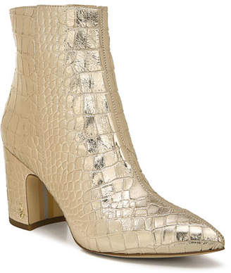 Sam Edelman Croc-Embossed Leather Booties
