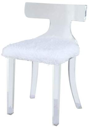 Acme Bradley Accent Chair in White in White Fur and Clear Acrylic