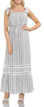 Vince Camuto Tie Strap Jacquard Plaid Maxi Dress