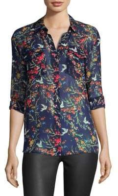 The Kooples Blue Bird Silk Blouse