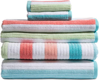 Caro Home Karissa Cotton 6-Pc. Textured-Stripe Bath Towel Set Bedding