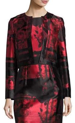 Carolina Herrera Floral & Stripe Open-Front Cropped Jacket, Red/Black