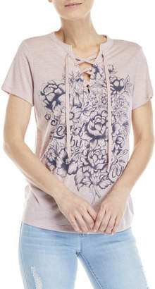 Jessica Simpson Magnolia Floral Lace-Up Tee