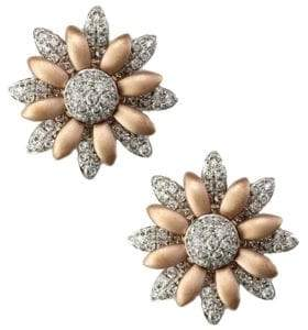 Effy Diamond Flower Earrings in 14 K White and Rose Gold, 0.5 ct. t.w.