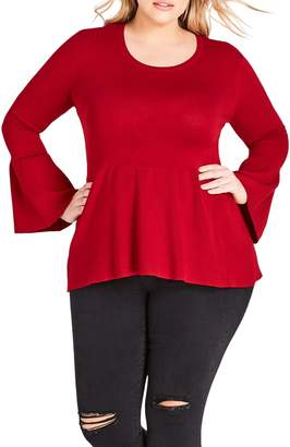City Chic Bell Sleeve Peplum Sweater