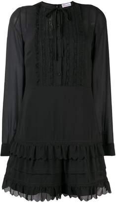 RED Valentino long sleeve ruffle-trim dress