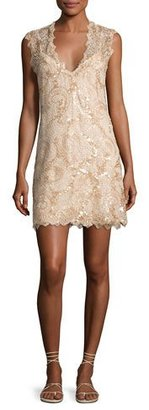 Queen & Pawn Saria Sequined Lace Coverup Dress, Beige $350 thestylecure.com