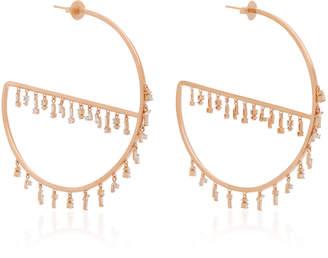 Suzanne Kalan 18K Rose Gold Diamond Hoop Earrings