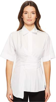 Sportmax Fauno Wrap Front Button Up Short Sleeve Top