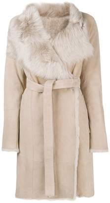 Yves Salomon Army fur trimmed wrap coat