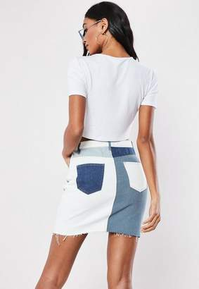 Missguided Blue Patchwork A Line Denim Mini Skirt