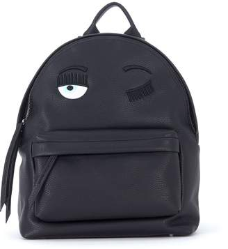 Chiara Ferragni Flirting Black Faux Leather Backpack