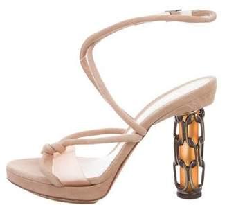 Fendi Suede Ankle Strap Sandals