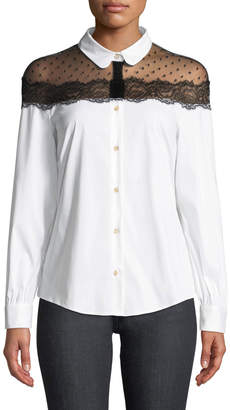 RED Valentino Button-Front Long-Sleeve Stretch Poplin Blouse w/ Point D'esprit