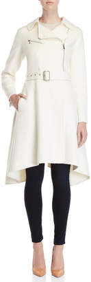 BCBGMAXAZRIA Wool Asymmetric Zip Belted Coat