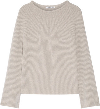 Helmut Lang - Ribbed Wool And Cashmere-blend Sweater - Stone $395 thestylecure.com