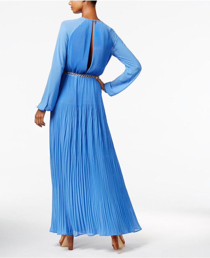 MICHAEL Michael Kors Pleated Belted Maxi Dress 3