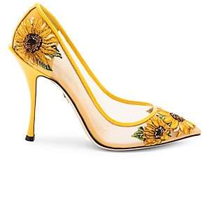 Dolce & Gabbana Women's Embroidered Sunflower Mesh Pumps