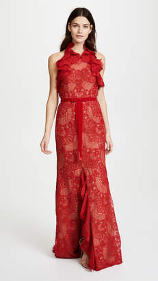 Marchesa Double Ruffle Lace Gown