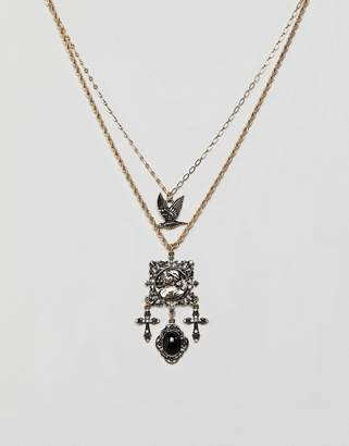 Icon Eyewear ASOS DESIGN multirow necklace with vintage style filigree square pendant and mixed charms in gold