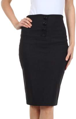Sakkas IMHighButtonI-9415 Petite High Waist Stretch Pencil Skirt with Four Button Detail - / L