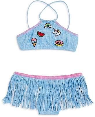 Pilyq Girls' 2-Piece Shimmer Patch & Fringe Swimsuit - Little Kid, Big Kid