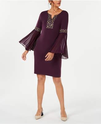 JM Collection Petite Beaded Bell-Sleeve Dress