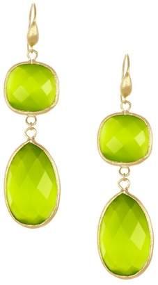Rivka Friedman 18K Gold Clad Lime Cat's Eye Bold Double Drop Earrings
