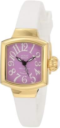 Glam Rock Women's MBD27130 Miami Beach Art Deco Purple Dial White Silicone Watch