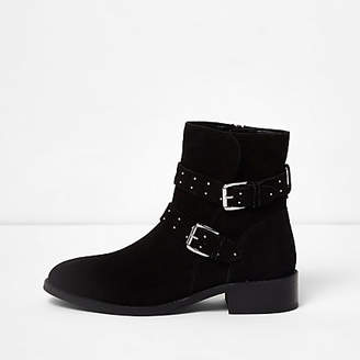 River Island Black suede studded buckle ankle boots