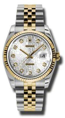 Rolex Datejust 116233 SJDJ Steel and Yellow Gold Silver Jubilee Diamond Dial 36mm Watch