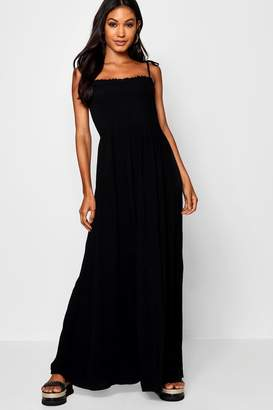 boohoo Sheered Tie Sleeve Ruffle Maxi Dress