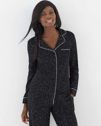 Embraceable Long Sleeve Notch Collar Pajama Top Glittered Black