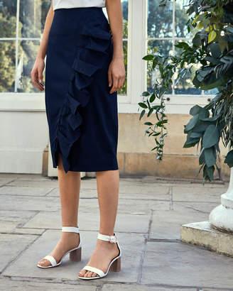 03d641edad5278 Ted Baker MALORI Ruffle detail cotton pencil skirt