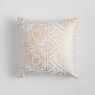 Pottery Barn Teen Metallic Pillow Cover, 16x16, Gold Tile Print