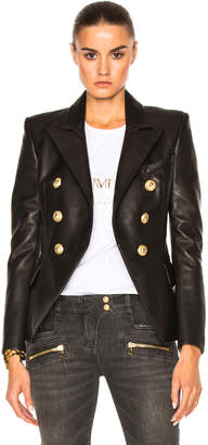 Balmain Double Breasted Leather Blazer in Black | FWRD