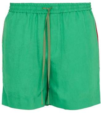 Gucci Logo Web Twill Shorts - Mens - Green