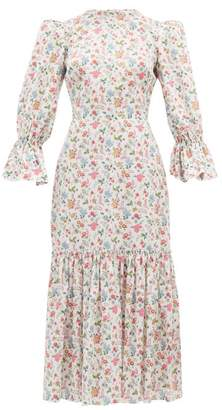 The Vampire's Wife Floral Song Bird Printed Cotton Dress - Womens - White Multi
